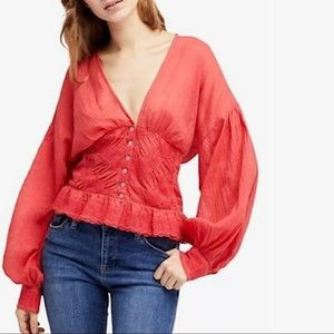 FREE PEOPLE Red True Color Cotton Blouse NWT